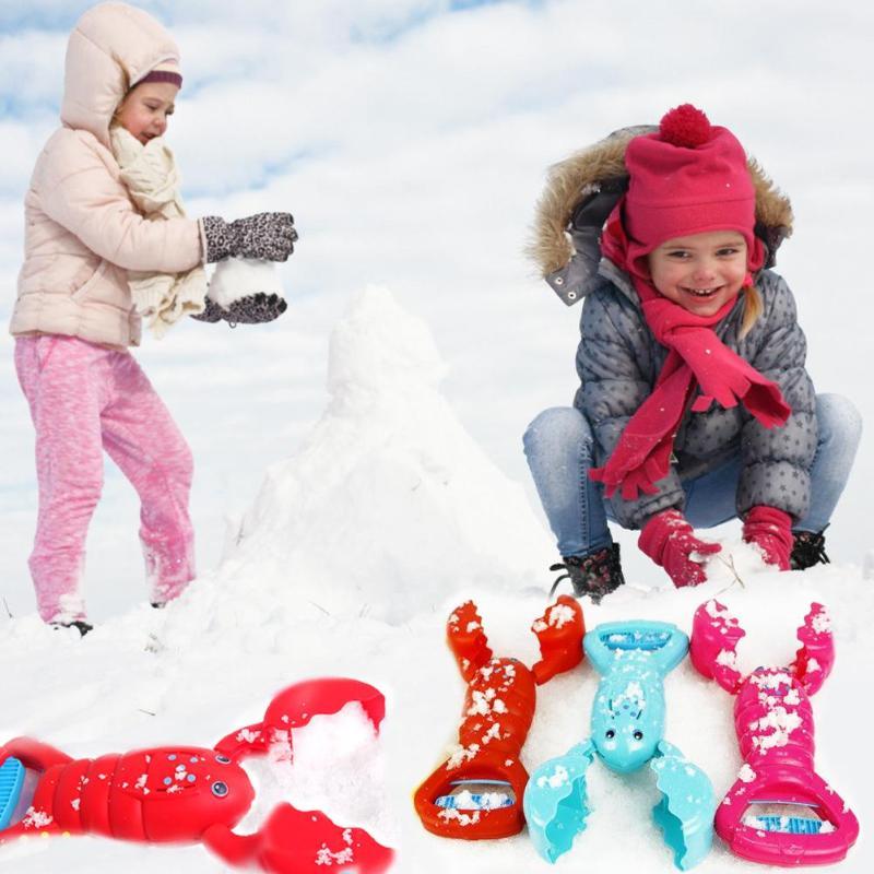 Cartoon Lobster Cute Snowball Maker Clip Plastic Fun Creative Snowball Making Mold Fight Toy Color Random