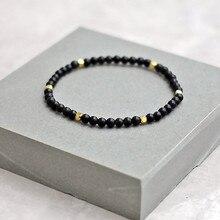 2020 nova moda pequeno cubo charme pulseira para as mulheres temperamento simples 4mm natural preto contas pulseira feminino jóias presente