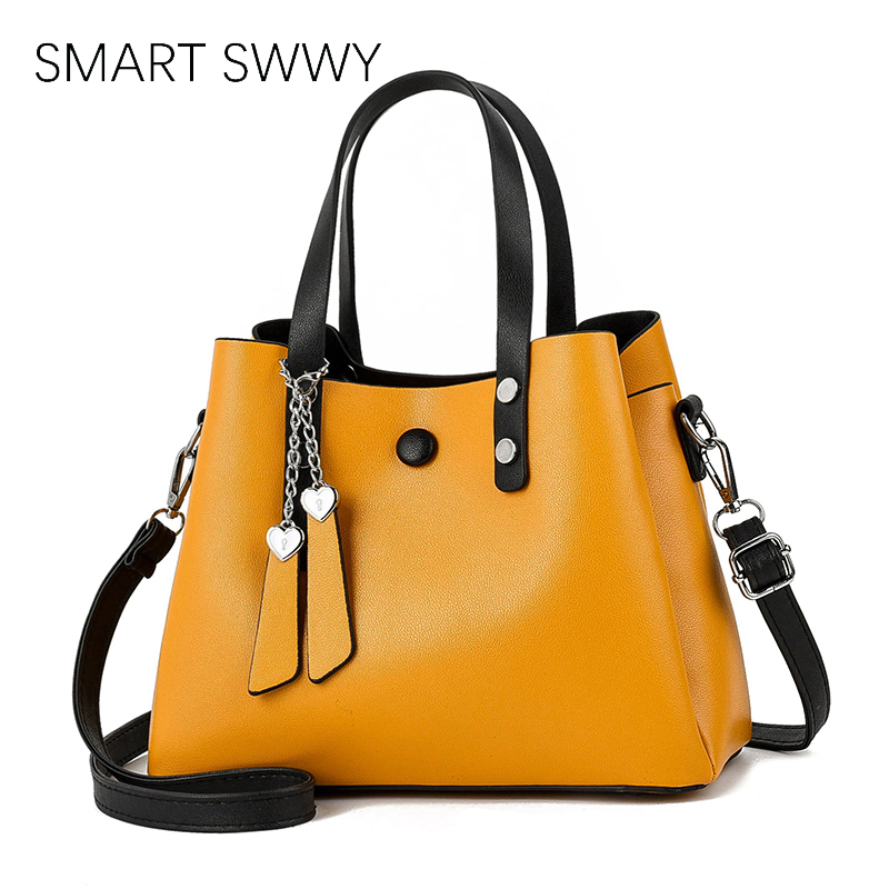 Women PU Leather Handbag 2019 Casual Crossbody Bag Yellow Bags Ladies Designer Handbags High Quality Shoulder Bags Female Totes