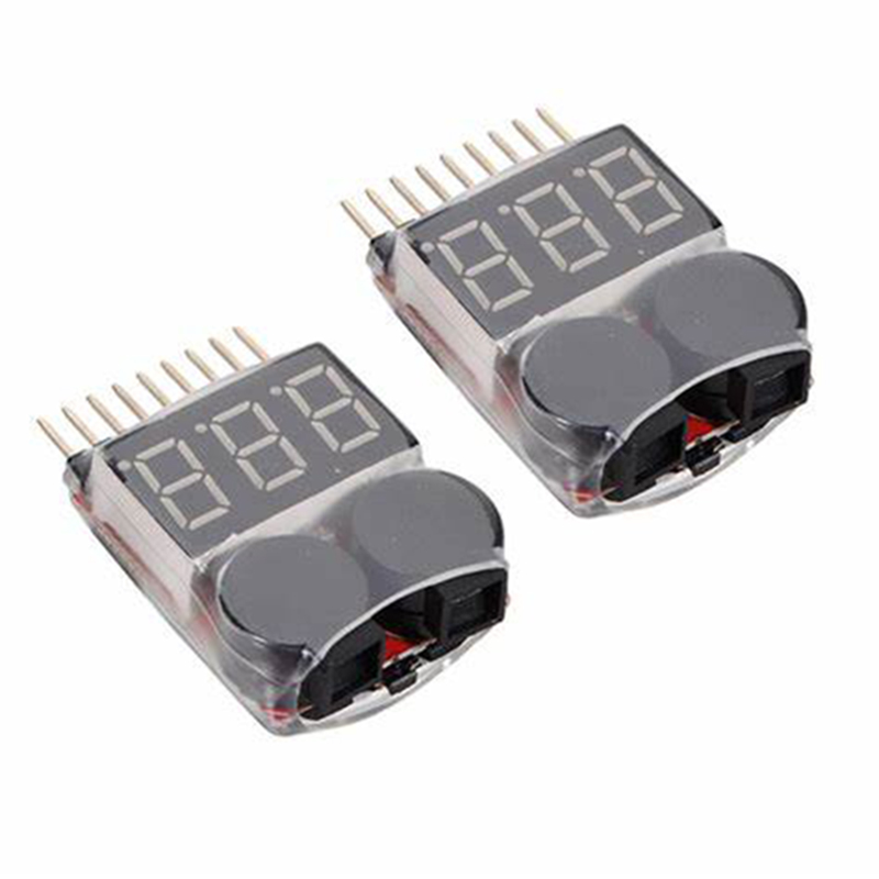 1S-8S Low Voltage Buzzer Alarm Lipo Li-ion Fe Battery Voltage 2in1 Indicator Tester For RC Car Boat Buzzers 3.7-30V Dual Speaker