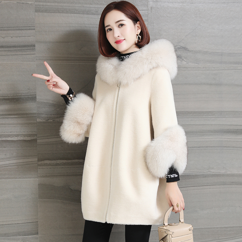 Real Fur Coat Fox Fur Collar Autumn Winter Coat Women Clothes 2020 Korean Vintage Streetwear Sheep Shearling Woo Jacket ZT3489