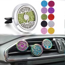 New Perfume Jewelry Tree of Life Car Diffuser Air Freshener  Essential Oil Locket with 10pcs Shinny Pads