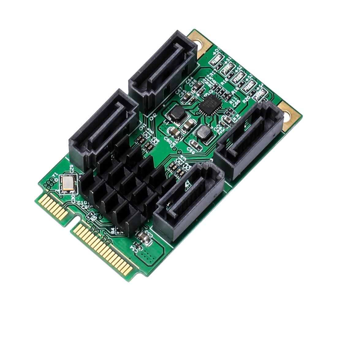 XT-XINTE Mini PCIE 4 Ports SATA III pci-express carte contrôleur SATA 3.0 Mini PCI-E disque dur SSD adaptateur carte d'extension - 5