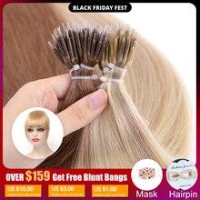 Mrshair nano anéis micro anel 100% extensões de cabelo humano não remy cabelo castanho loira cor pura 50/200pc 12 16 20 24 Polegada