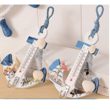 New Modern Home Wall Hanging Hook Wood Anchor Thermometer Shell Nautical Decor