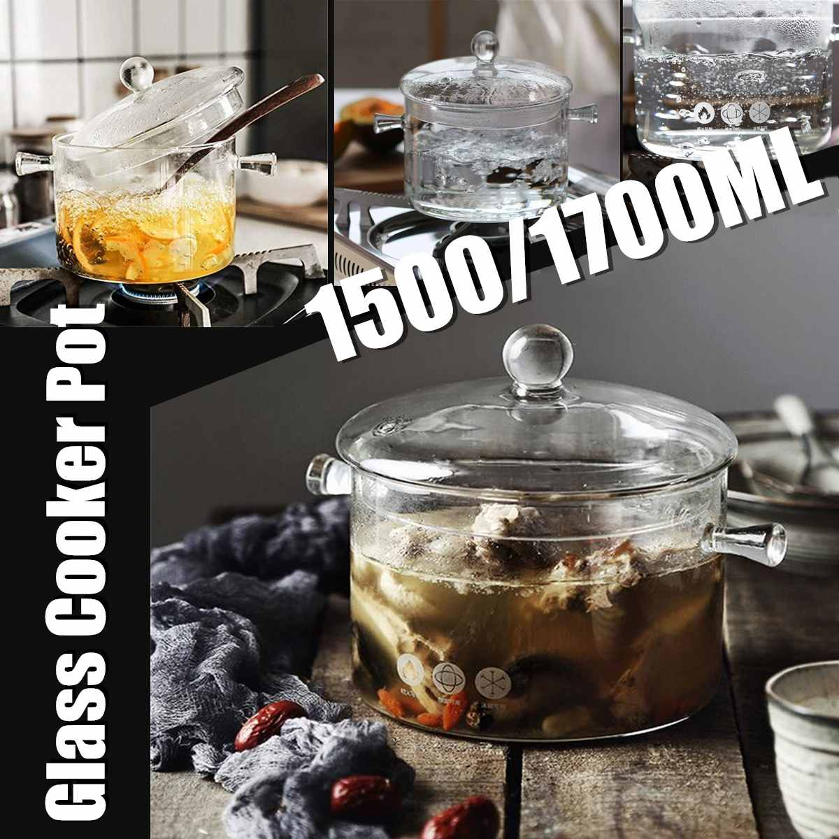 Household Transparent Glass Soup Pot Electric Ceramic Stove Heating Glass Bowl Handmade Cooking Tools Kitchen Supplies 1.5/1.7L