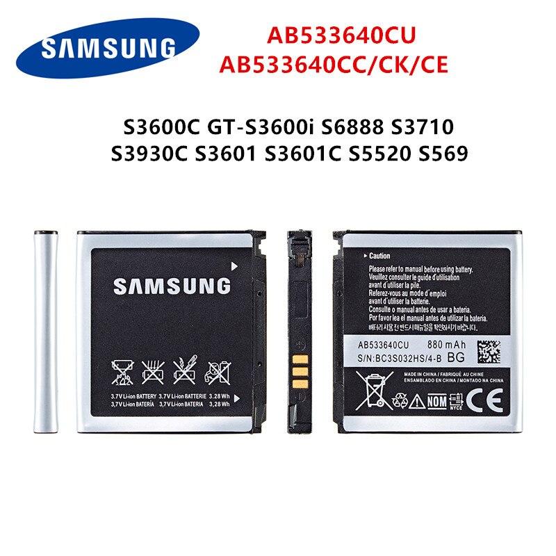 SAMSUNG Orginal AB533640CU AB533640CC Battery 880mAh For Samsung S3600C GT-S3600i S6888 S3710 S3930C S3601 S3601C S5520 S569