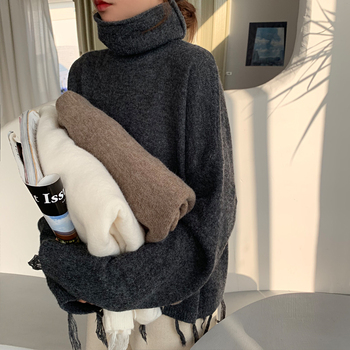 Ailegogo New Autumn Winter Women Sweater Casual Female Tassel Loose Fit Knitted Pullovers Turtleneck Short Ladies Knitwear Tops 2