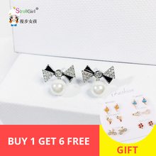 Korean glitter cubic zircone & enemal bowknot  with sea pearl Stud earrings sterling silver 925 for women jewelry 2019