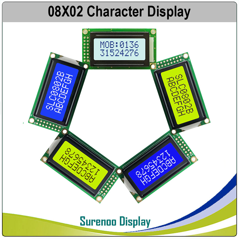 58*32MM 8*2 0802 8X2 Character LCD Module Display Screen LCM With Yellow Green Backlight Or Blue Color