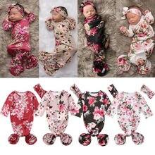 Pudcoco US Stock Infant Baby Flower Swaddle Warp Blanket Sleeping Bag Headband Outfit