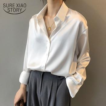 Otoño moda abotonada camisa de seda de satén Vintage blusa mujer blanca señora de manga larga Mujer suelta calle camisas 11355