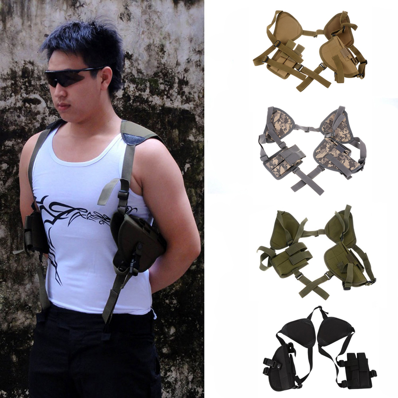 Left Right Hand Tactical Nylon Gun Holster Universal Pistol Gun Carry Pouch Concealed Shoulder Holster Glock 17 Gun