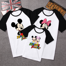 2020 summer Family Matching Outfits mickey Short sleeved T shirt Family mother and daughter clothes father Son baby kids 14color
