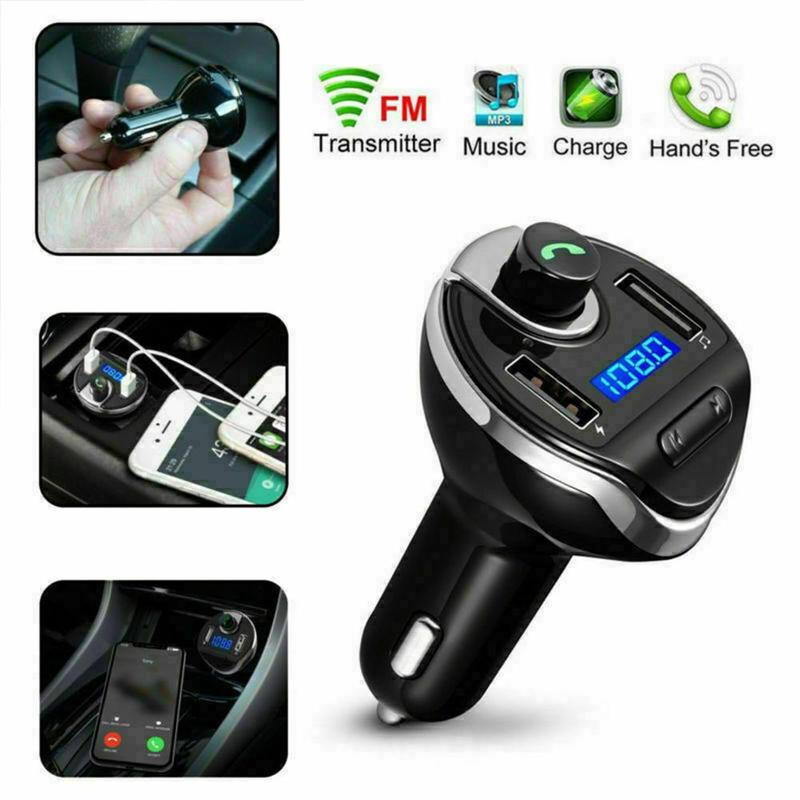 FM-трансмиттер для телефонных звонков, Bluetooth, Автомобильный FM-модулятор, MP3 радиоадаптер, автомобильное быстрое зарядное устройство с двумя ...