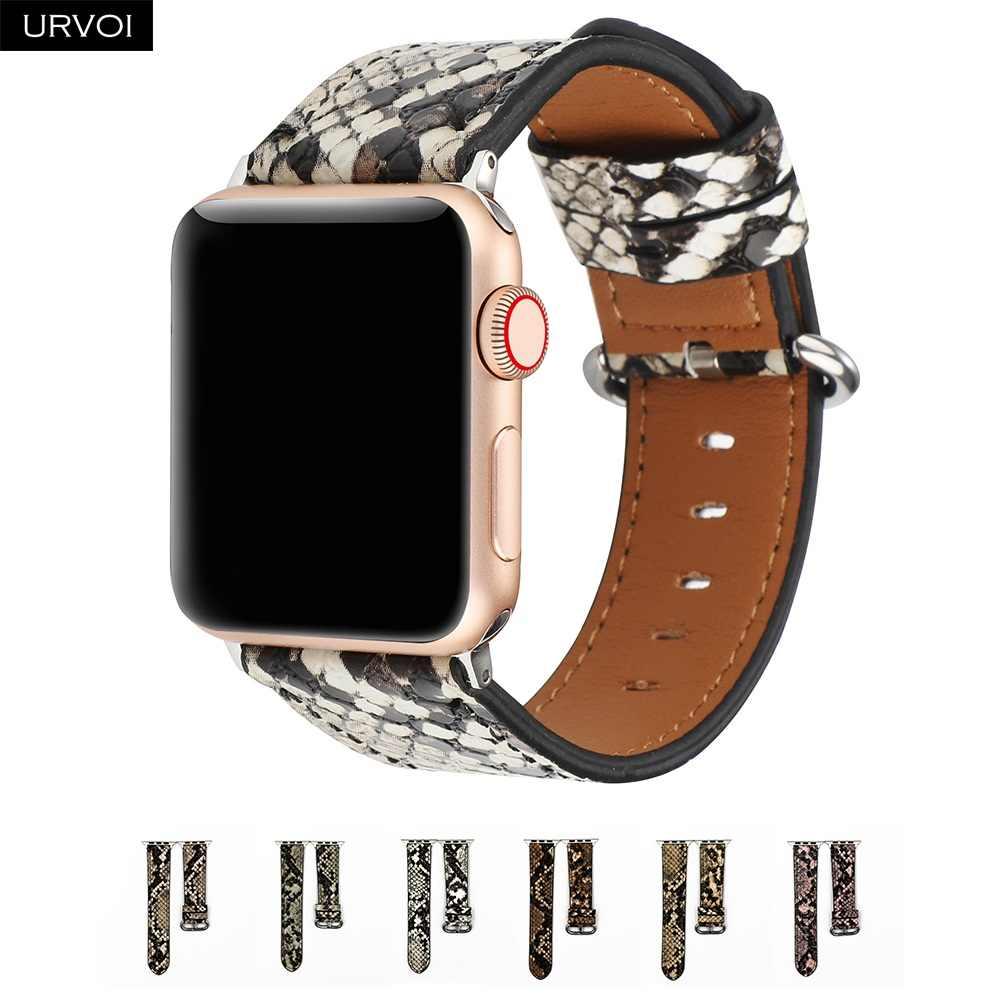 حلقة من جلد URVOI لسلسلة ساعة أبل 5 4 3 2 1 حزام الطباعة ل iWatch بولي leather ستوكات الجلود مع تصميم عصري بيثون