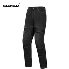SCOYCO אופנוע מכנסיים גברים ג ינס מוטוקרוס רכיבה סיור אופנוע מכנסיים עם CE הברך מגן אופנוע תלבושת Moto חליפה