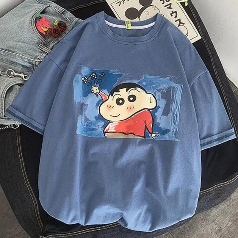 Harajuku Kawaii Anime Cartoon Xiaoxin Printing Women Short Sleeved T-shirt Tops O Neck INS Summer Casual Loose Women Clothes Top