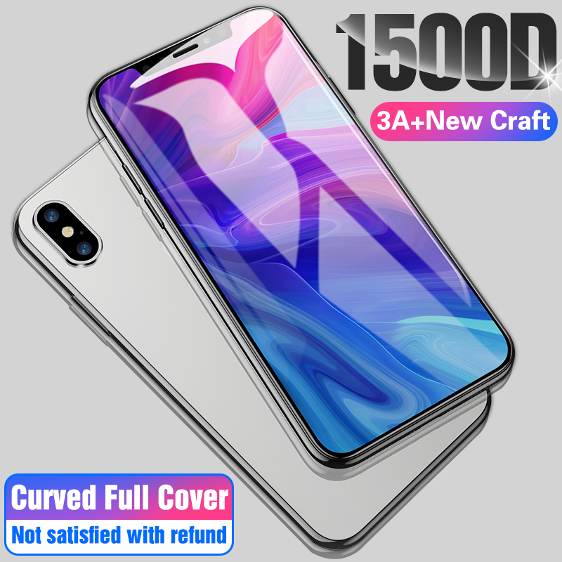 1500D 3A Curved Full Cover Safety Tempered Glass On The For X XS Max XR Screen Protector Glass For IPhone 7 8 6 Plus 11 Pro Film