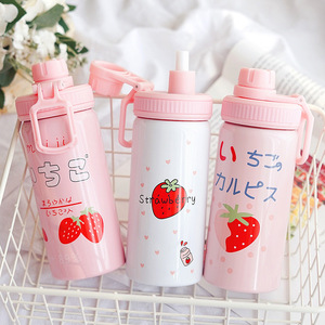 Image 1 - 400ML Cute Pink Strawberry Water Bottle New Kawaii Stainless Steel Thermos Bottle With Straw Birthday Gift For Girl Women