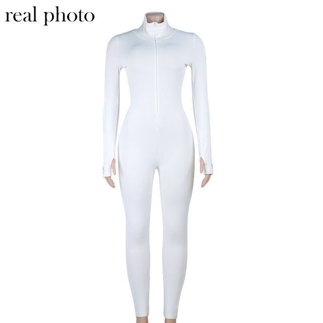 Simenual Workout Active Wear Ribbed Rompers Womens Jumpsuit Sporty Long Sleeve Fitness Embroidery Letter Print Zipper Jumpsuits 5