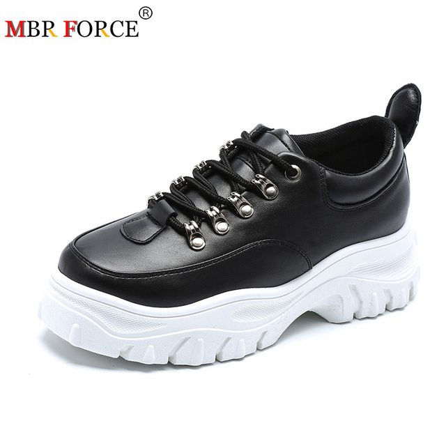 MBR FORCE Genuine Leather Sneakers Women Flat Platform Shoes Autumn Breathable mesh women Thick bottom shoes