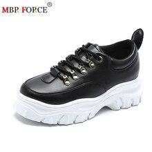 Mbr força tênis de couro genuíno mulher sapatos de plataforma plana outono respirável malha sapatos de fundo grosso