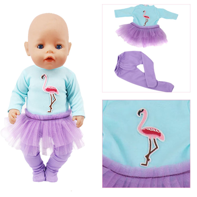 Blue Flamingo Top Skirt + Purple Pants For 18-Inch American Doll Accessories, Generation, Girl Toy Gifts This Is DropShipping