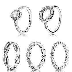 Kristal gümüş yüzük Charms Diy büyük şeffaf Cz yuvarlak parmak yüzük kadınlar için Diy gümüş takı parti düğün hediye