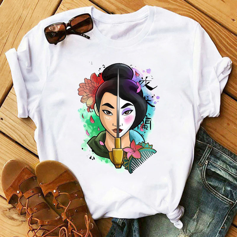 Women Shirts Fashion Mulan Princess T-shirts Print Tee Shirt Harajuku Kawaii Streetwear Tshirt Plus Size Summer T Shirt Cartoon 1