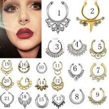 Piercing falso de nariz em aço 1 peça, inoxidável, piercing de septo, argola falsa, anel de nariz indiana, pircagem, corpo punk piercing jóias