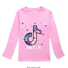 Clothing Tshirt Tik Tok Long-Sleeve Funny Children Cool Casual O-Neck Harajuku Cotton