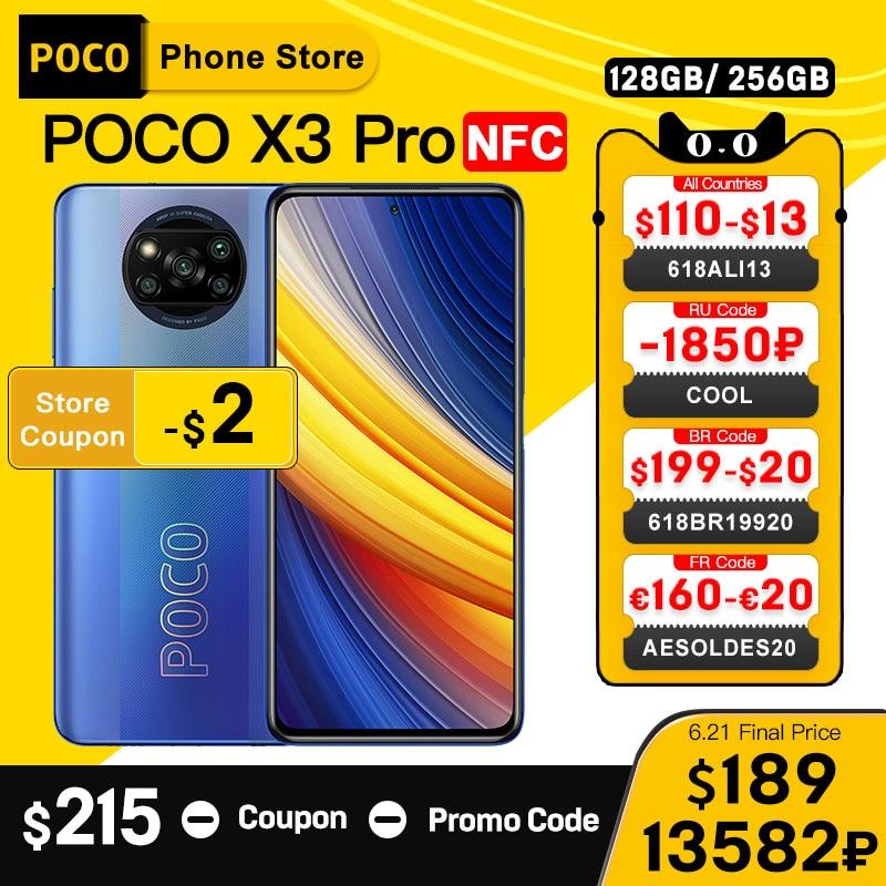 In Stock Global Version POCO X3 Pro NFC 6GB 128GB/ 8G 256GB Smartphone Snapdragon 860 33W Quad 5160mAh Battery 120Hz DotDisplay