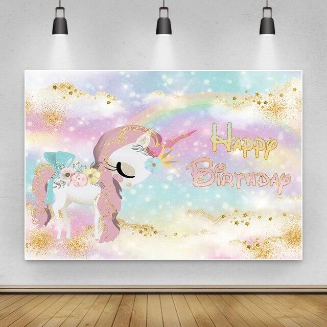 Laeacco Happy Birthday Party Decor Poster Unicorn Photo Backdrop Golden Polka Dots Stars Customized Photography Background