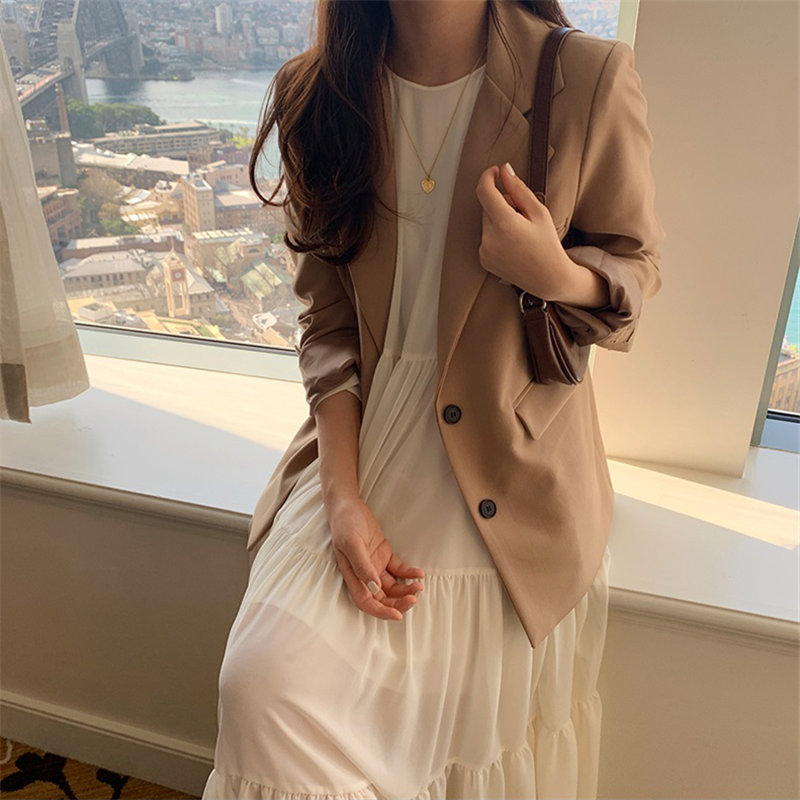 HziriP Women Solid Warm Tops All Match Slender 2020 Full Sleeves Gentle Pockets Chic Casual OL Fashion Vintage Loose Blazers