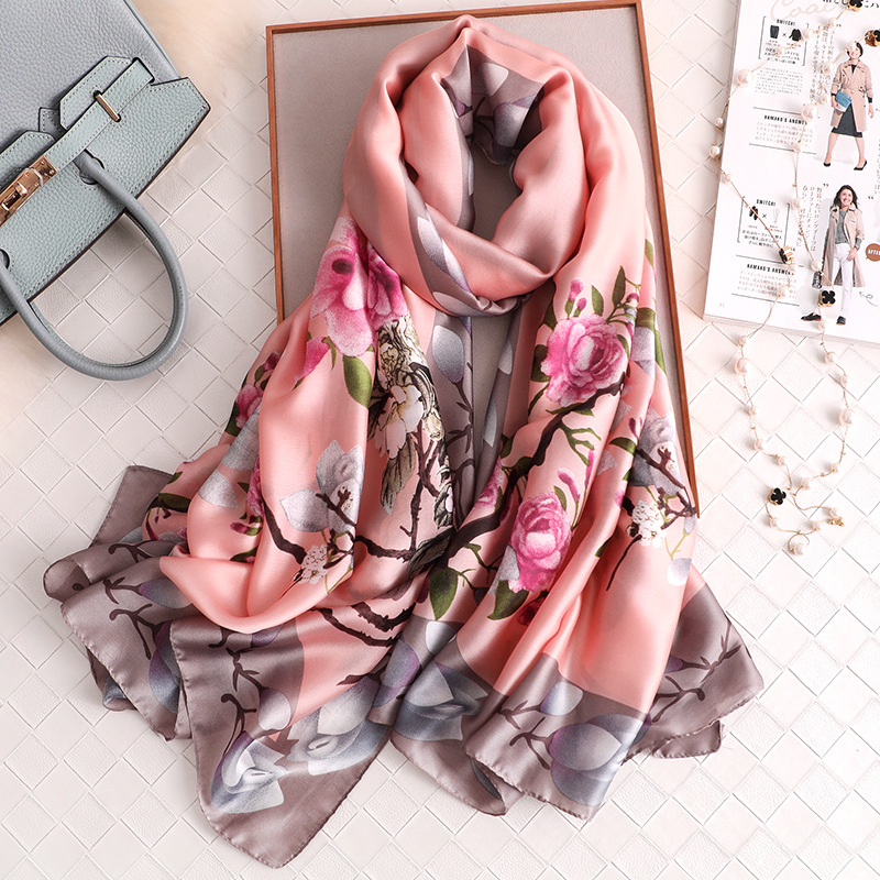 Luxury Women Silk Scarf Design Print Female Foulard Hijab Scarfs Summer Lady Shawl Beach Cover-ups Scarves Wraps 2020 New