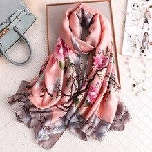 Luxury Women Silk Scarf Design Print Female Foulard Hijab Scarfs Summer Lady Sha