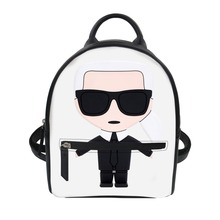 HaoYun Karl Lagerfelds Print Ladies Pu Leather Backpack for Women Casual Small Daypacks Girls Travel Mochila Feminine Trendy