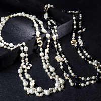 Mujeres colgantes largos capas collar de perlas collares de moda 2020 letra No 5 joyería de fiesta de flores