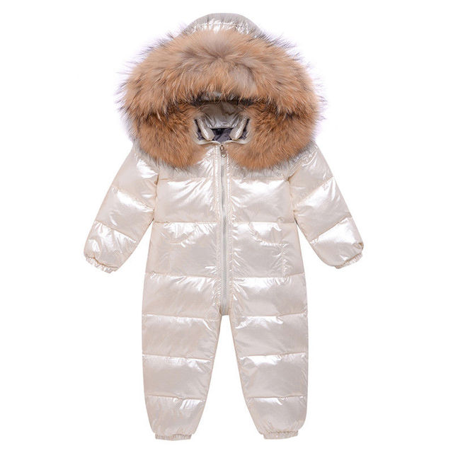 -30 Russia Winter White Duck Overalls Snowsuits Baby Kids Boys Girls Thick Down Coat Clothes Toddler Infant Warm Parka Jacket 3Y 6