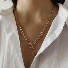 Женская цепочка на шею kpop золотистый чокер из нержавеющей