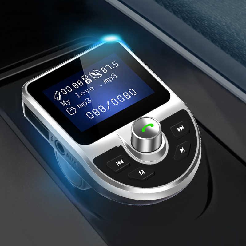車 MP3 プレーヤーの Bluetooth Fm トランスミッタハンズフリーカーキットオーディオ MP3 変調器 1.44 インチディスプレイ 2.1A USB 車充電器