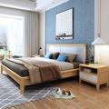 Northern European-Style Solid Wood Bed 1.5m 1.8 M Minimalist Modern Bedroom Double Bed Soft Leather Bag Storage Box High Marriag