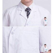 Летний белый лабораторный халат унисекс короткий рукав карманы униформа Рабочая одежда доктор Одежда для медсестер JS26