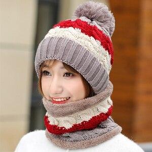 Image 4 - Neue Winter frauen Samt Wolle Hüte Twist farbe passenden Mützen Skullies Hut Weibliche Reiten Bib Gestrickte Hüte Sets Großhandel