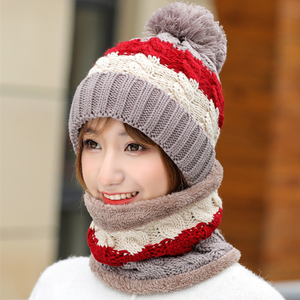 Image 4 - New Winter Womens Velvet Wool Hats Twist color matching Beanies Skullies Hat Female Riding Bib Knitted Hats Sets Wholesale