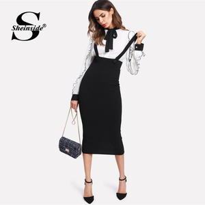 Sheinside High Waist Slit Back Pencil Skirt With Strap Black Knee Length Plain Zipper Skirt Women Elegant Spring Midi Skirt