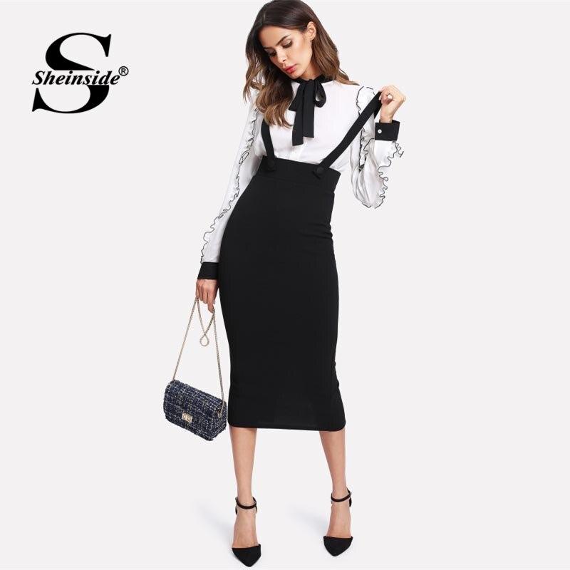 Sheinside cintura alta fenda volta lápis saia com alça preta na altura do joelho saia com zíper liso feminino elegante primavera midi saia