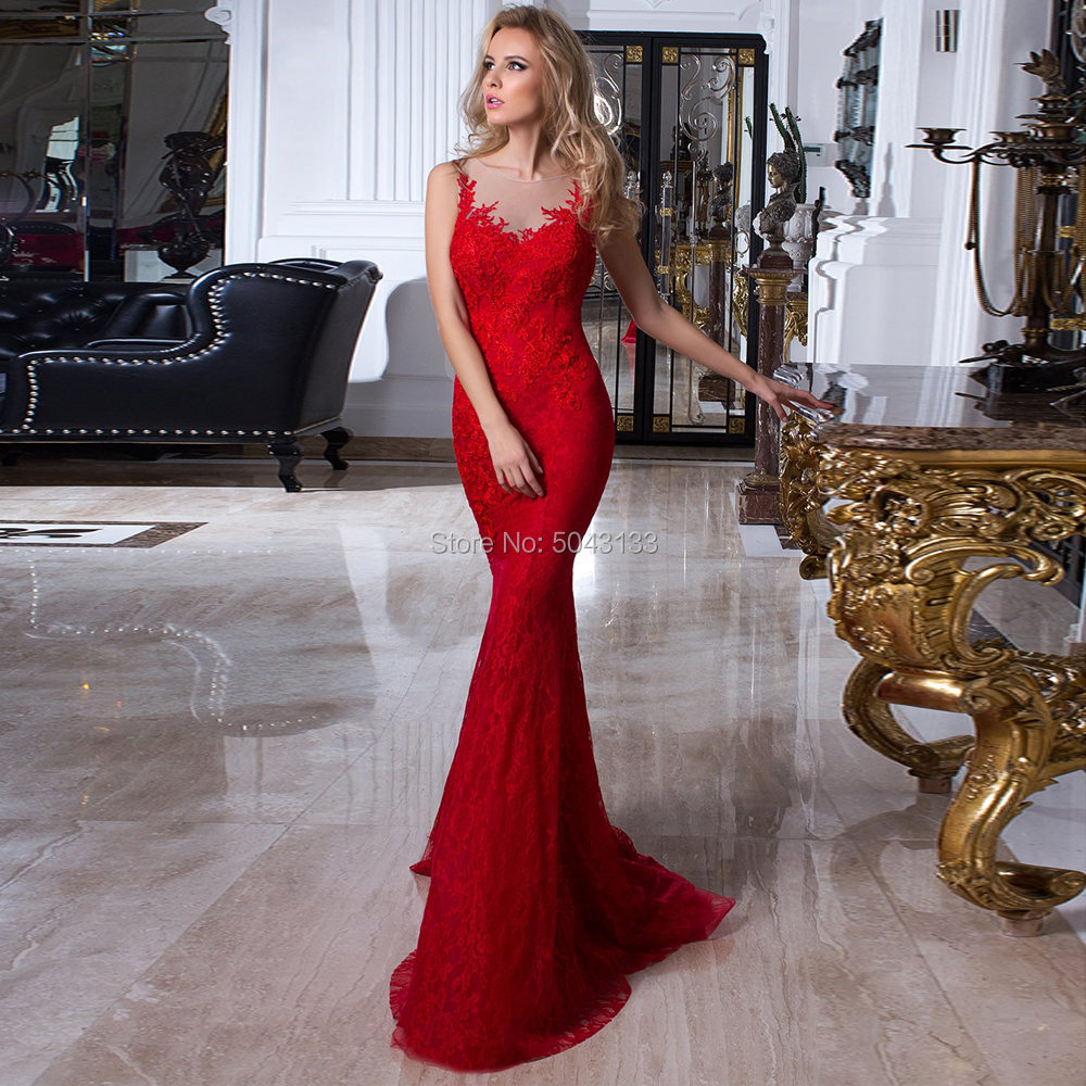 Red Mermaid   Prom     Dresses   2019 Lace Appliques Scoop Neck Sleeveless   Prom   Evening Gowns Sexy Wedding   Prom   Gowns Long