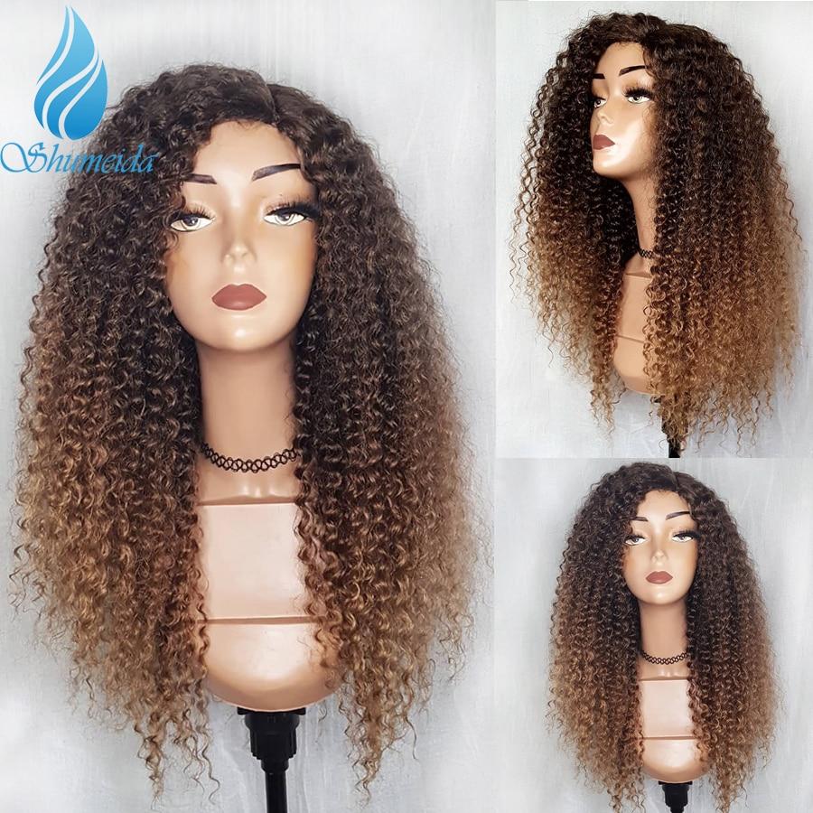 Shd ombre cor peruca dianteira do laço com o cabelo do bebê brasileiro kinky encaracolado perucas de cabelo humano para as mulheres remy cabelo glueless perucas do laço